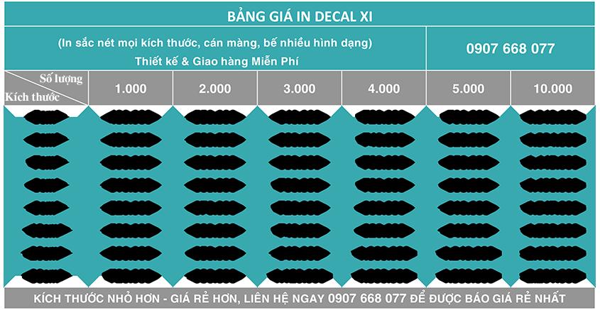 Bảng giá in decal xi tại Minh Hoàng